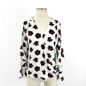 Ann Taylor Factory- Surplice Floral Blouse Small
